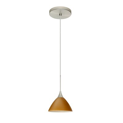Domi 1 Integrated Bulb Mini Pendant Finish: Satin Nickel, Shade Color: Oak, Bulb Type: LED