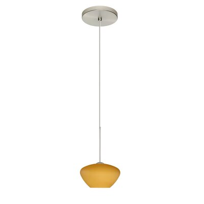 Peri 1 Integrated Bulb Mini Pendant Finish: Satin Nickel, Shade Color: Amber Matte, Bulb Type: Halogen