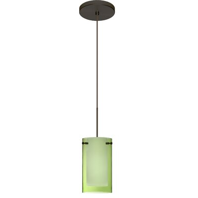 Pahu 1 LED Integrated Bulb Mini Pendant Finish: Bronze, Shade Color: Transparent Olive/Opal, Bulb Type: Halogen