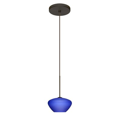 Peri 1 Integrated Bulb Mini Pendant Finish: Bronze, Shade Color: Blue Matte, Bulb Type: Halogen
