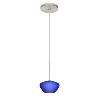 Peri 1 Integrated Bulb Mini Pendant Finish: Satin Nickel, Shade Color: Blue Matte, Bulb Type: Halogen