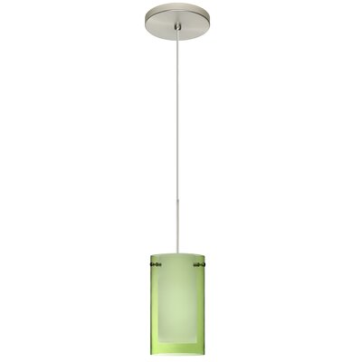Pahu 1 LED Integrated Bulb Mini Pendant Shade Color: Transparent Olive/Opal, Bulb Type: Halogen, Finish: Satin Nickel