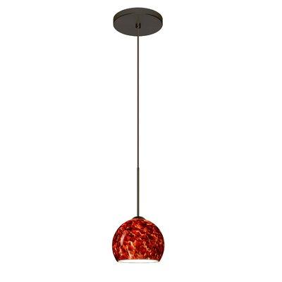 Palla 1 LED Integrated Bulb Mini Pendant Finish: Bronze, Bulb Type: Halogen, Shade Color: Garnet
