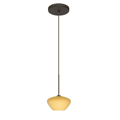 Peri 1 Integrated Bulb Mini Pendant Finish: Bronze, Shade Color: Vanilla Matte, Bulb Type: Halogen
