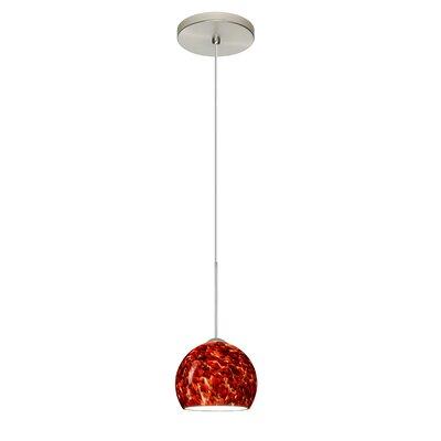 Palla 1 LED Integrated Bulb Mini Pendant Bulb Type: LED, Finish: Satin Nickel, Shade Color: Garnet