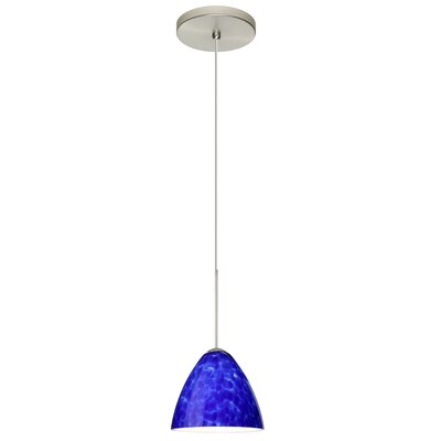 Mia 1 Integrated Bulb Mini Pendant Finish: Satin Nickel, Shade Color: Blue Cloud, Bulb Type: LED