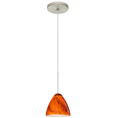 Mia 1-Light Mini Pendant Bulb Type: Halogen, Finish: Satin Nickel