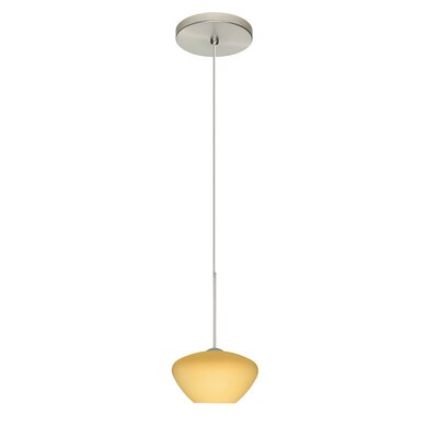 Peri 1 LED Integrated Bulb Mini Pendant Bulb Type: LED, Finish: Satin Nickel, Shade Color: Vanilla Matte