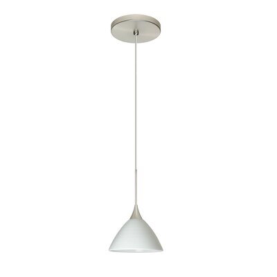 Domi 1 Integrated Bulb Mini Pendant Finish: Satin Nickel, Shade Color: Chalk, Bulb Type: Halogen