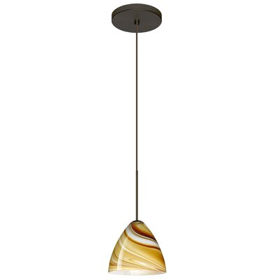 Mia 1-Light Mini Pendant Finish: Bronze, Bulb Type: Halogen