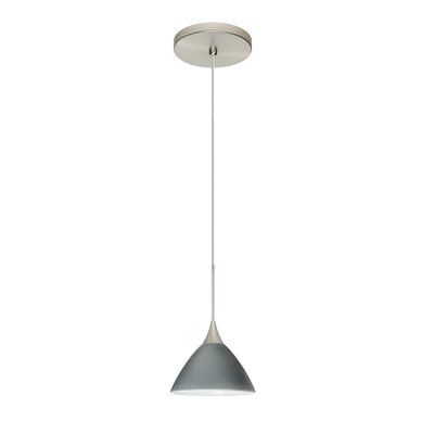 Domi 1 Integrated Bulb Mini Pendant Finish: Satin Nickel, Shade Color: Titan, Bulb Type: Halogen