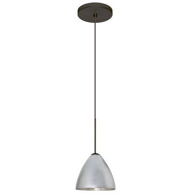 Mia 1 Integrated Bulb Mini Pendant Finish: Bronze, Shade Color: Silver Foil, Bulb Type: LED