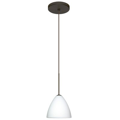 Mia 1-Light Mini Pendant Finish: Bronze, Shade Color: Opal Matte, Bulb Type: Halogen