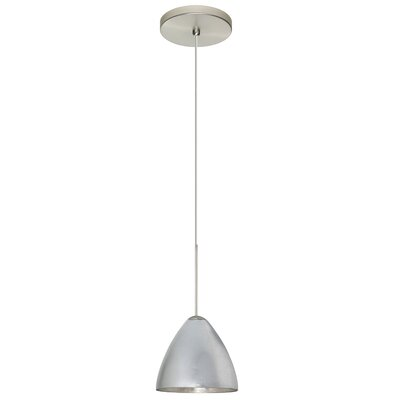Mia 1 Integrated Bulb Mini Pendant Finish: Satin Nickel, Shade Color: Silver Foil, Bulb Type: Halogen