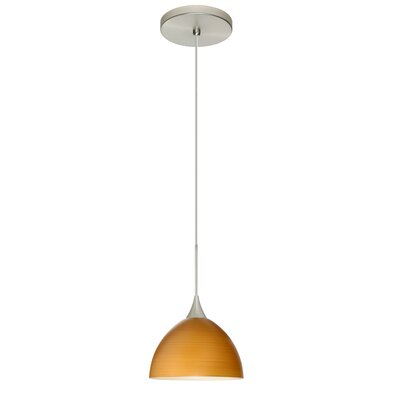 Brella 1 Integrated Bulb Mini Pendant Finish: Satin Nickel, Shade Color: Oak, Bulb Type: LED