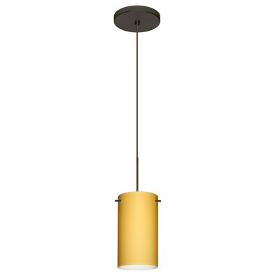 Stilo 1 Integrated Bulb Mini Pendant Finish: Bronze, Shade Color: Vanilla Matte, Bulb Type: LED