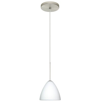 Mia 1-Light Mini Pendant Finish: Satin Nickel, Shade Color: Opal Matte, Bulb Type: Halogen