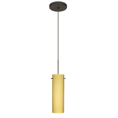 Copa 1 Integrated Bulb Mini Pendant Finish: Bronze, Shade Color: Vanilla Matte, Bulb Type: LED