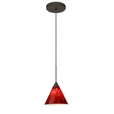 Kani 1 LED Integrated Bulb Mini Pendant Finish: Bronze, Bulb Type: LED, Shade Color: Garnet