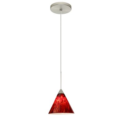 Kani 1 LED Integrated Bulb Mini Pendant Bulb Type: LED, Finish: Satin Nickel, Shade Color: Garnet