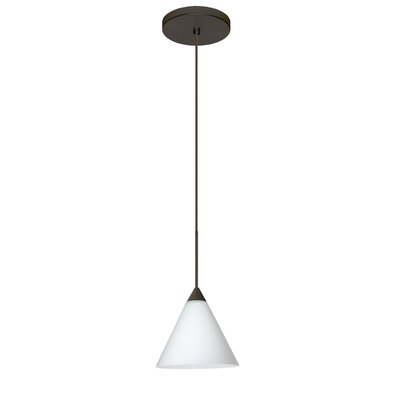 Kani 1 Integrated Bulb Mini Pendant Finish: Bronze, Shade Color: Opal Matte, Bulb Type: LED