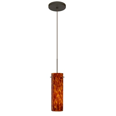Copa 1 LED Integrated Bulb Mini Pendant Finish: Bronze, Shade Color: Amber Cloud, Bulb Type: Halogen