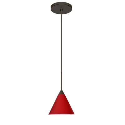 Kani 1 Integrated Bulb Mini Pendant Finish: Bronze, Shade Color: Ruby Matte, Bulb Type: Halogen