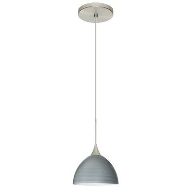 Brella 1 Integrated Bulb Mini Pendant Finish: Satin Nickel, Shade Color: Titan, Bulb Type: LED