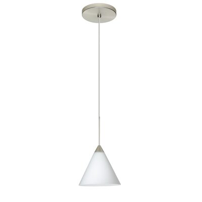 Kani 1 Integrated Bulb Mini Pendant Finish: Satin Nickel, Shade Color: Opal Matte, Bulb Type: Halogen