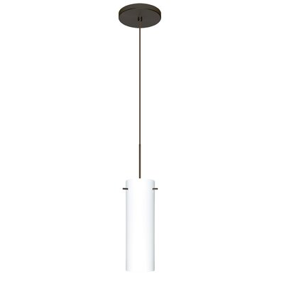 Copa 1 LED Integrated Bulb Mini Pendant Finish: Bronze, Shade Color: Opal Matte, Bulb Type: Halogen