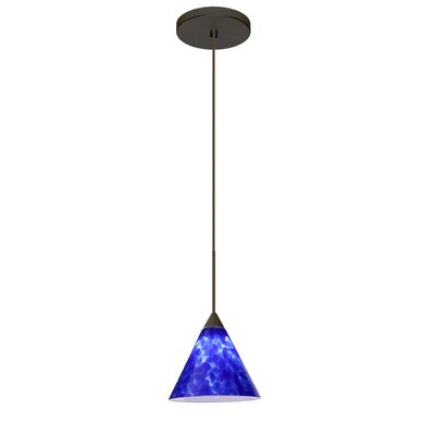 Kani 1 LED Integrated Bulb Mini Pendant Finish: Bronze, Bulb Type: Halogen, Shade Color: Blue Cloud