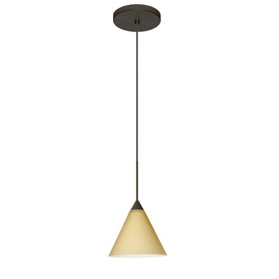 Kani 1 Integrated Bulb Mini Pendant Finish: Bronze, Shade Color: Vanilla Matte, Bulb Type: LED