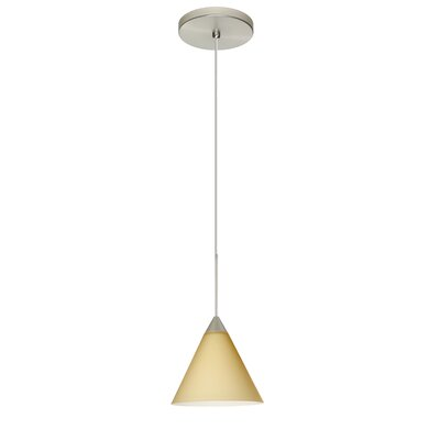 Kani 1 Integrated Bulb Mini Pendant Finish: Satin Nickel, Shade Color: Vanilla Matte, Bulb Type: Halogen