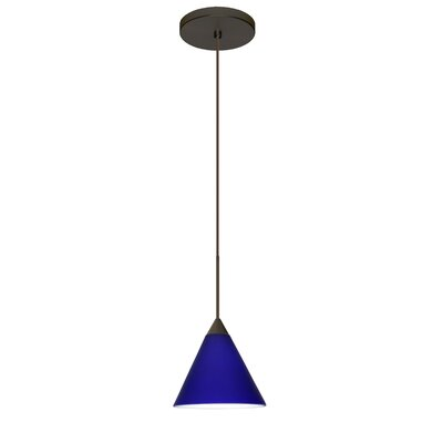 Kani 1 LED Integrated Bulb Mini Pendant Shade Color: Cobalt Blue Matte, Bulb Type: LED, Finish: Bronze