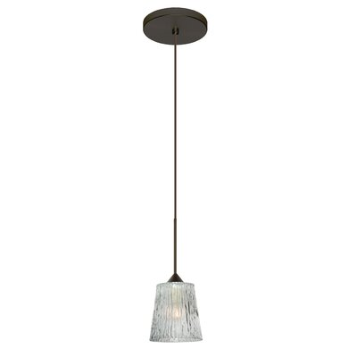 Nico 1-Light Mini Pendant Finish: Bronze, Shade Color: Opal Stone, Bulb Type: Halogen