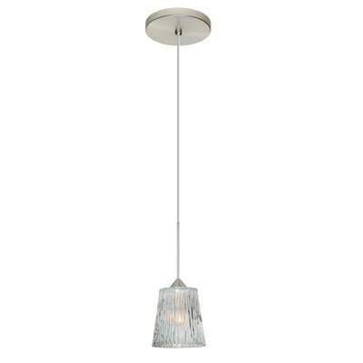 Nico 1-Light Mini Pendant Shade Color: Clear Stone, Bulb Type: Halogen, Finish: Satin Nickel
