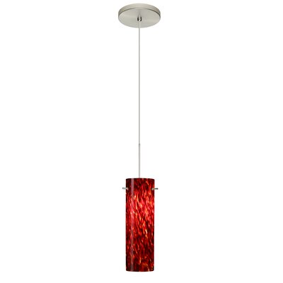 Copa 1 Integrated Bulb Mini Pendant Finish: Satin Nickel, Shade Color: Garnet, Bulb Type: Halogen