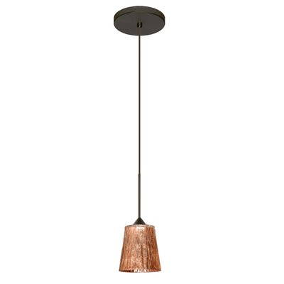 Nico 1 LED Integrated Bulb Mini Pendant Bulb Type: LED, Finish: Bronze, Shade Color: Stone Copper Foil