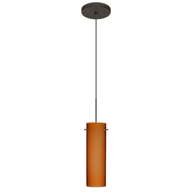 Copa 1 Integrated Bulb Mini Pendant Finish: Bronze, Shade Color: Amber Matte, Bulb Type: Halogen