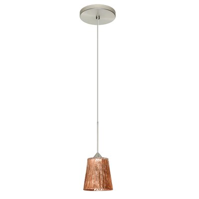 Nico 1 LED Integrated Bulb Mini Pendant Finish: Satin Nickel, Bulb Type: LED, Shade Color: Stone Copper Foil