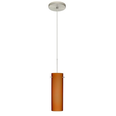 Copa 1 LED Integrated Bulb Mini Pendant Bulb Type: LED, Finish: Satin Nickel, Shade Color: Amber Matte