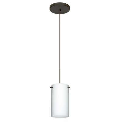 Stilo 1 Integrated Bulb Mini Pendant Finish: Bronze, Shade Color: Opal Matte, Bulb Type: Halogen