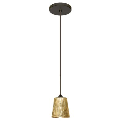 Nico 1 Integrated Bulb Mini Pendant Finish: Bronze, Shade Color: Stone Gold Foil, Bulb Type: LED