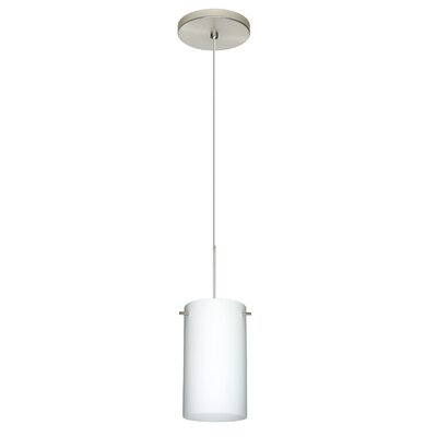 Stilo 1 Integrated Bulb Mini Pendant Finish: Satin Nickel, Shade Color: Opal Matte, Bulb Type: LED
