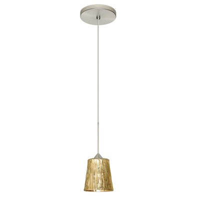Nico 1 LED Integrated Bulb Mini Pendant Finish: Satin Nickel, Bulb Type: Halogen, Shade Color: Stone Gold Foil