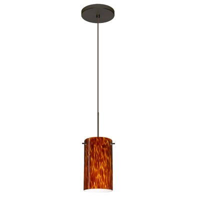 Stilo 1 LED Integrated Bulb Mini Pendant Finish: Bronze, Bulb Type: Halogen, Shade Color: Amber Cloud