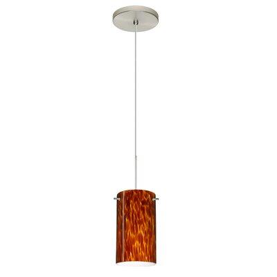 Stilo 1 LED Integrated Bulb Mini Pendant Bulb Type: Halogen, Finish: Satin Nickel, Shade Color: Amber Cloud