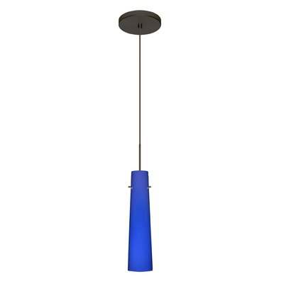 Camino 1 LED Integrated Bulb Mini Pendant Finish: Bronze, Bulb Type: Halogen, Shade Color: Cobalt Blue Matte