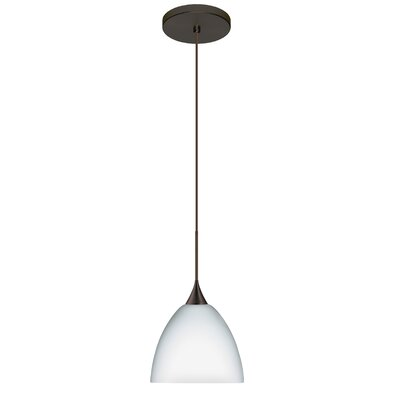 Sasha 1 Integrated Bulb Mini Pendant Finish: Bronze, Shade Color: Opal Matte, Bulb Type: LED