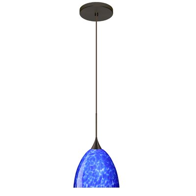 Sasha 1 LED Integrated Bulb Mini Pendant Finish: Bronze, Bulb Type: Halogen, Shade Color: Blue Cloud